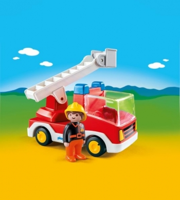 Playmobil 123 Πυροσβέστης Με Κλιμακοφόρο Όχημα