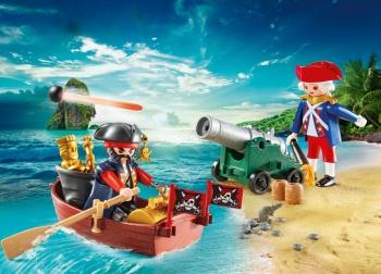 Playmobil Βαλιτσάκι Λιμενοφόρο Κανόνι και Πειρατής Βάρκα (9102)