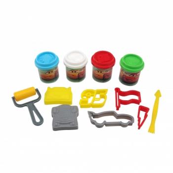 Κουβαδάκι με 4 Βαζάκια Πλαστελίνης & 8 Εργαλεία Cars