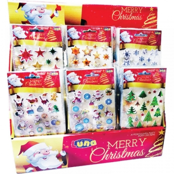 Αυτοκόλλητα Χριστουγεννιάτικα 10χ22εκ Puffy Glitter 6 Σχέδια Luna