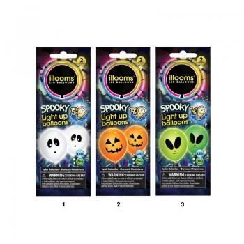 Illooms Spooky - Φωτεινά Μπαλόνια LED 2 τμχ - 3 Χρώματα