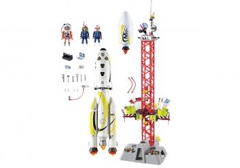 Playmobil Space Πύραυλος Διαστημικής Αποστολής Με Σταθμό Εκτόξευσης