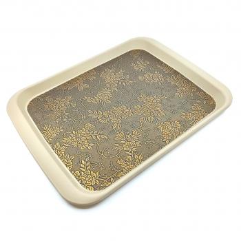 Δίσκος Σερβιρίσματος Χρυσά Λουλούδια Πλαστικός 37x28