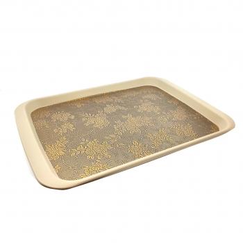 Δίσκος Σερβιρίσματος Χρυσά Λουλούδια Πλαστικός 42x31