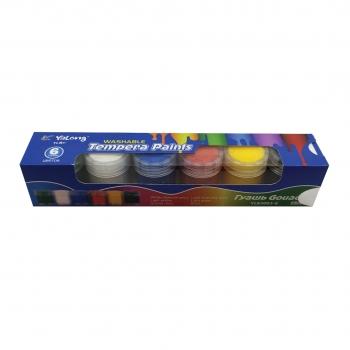 Τέμπερες Υγρές Washable Σε Βαζάκι 6 Χρώματα Βασικά- Yalong 15ml 4x21x4