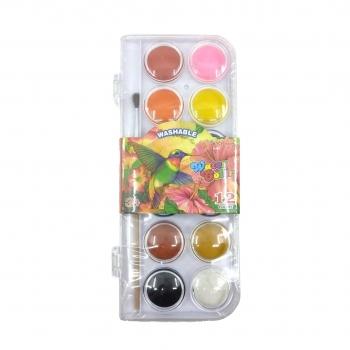 Νερομπογιές Σε Κασετίνα Με Πινέλο 12 Χρώματα Διάφορα Σχέδια