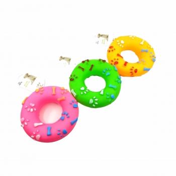 Παιχνίδι Σκύλου Λαστιχένιο Donut με Ήχο 13 Εκ. Διάφορα Σχέδια