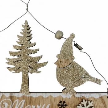 Ταμπ Δεντρό Πουλάκια Merry Christmas Ξυλ 19* 22. 5* 0. 5cm