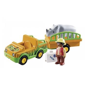Playmobil Όχημα ζωολογικού κήπου με ρινόκερο