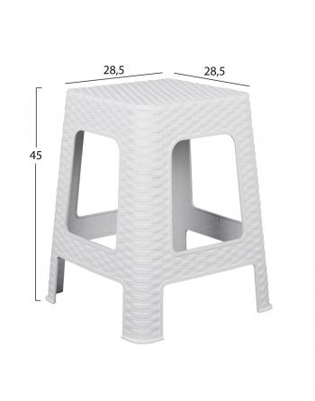 Σκαμπό Rattan Et Plast Οκτάγωνο Λευκό (00485)