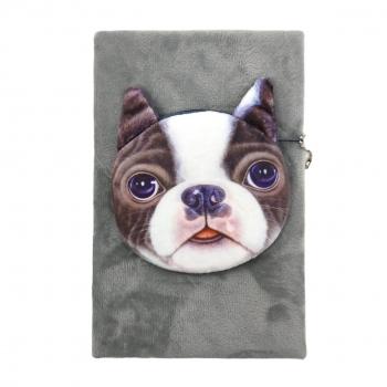 Μπλοκ Σημειώσεων Χνουδωτό με Σκύλο Bulldog Πορτοφόλι 21x14 Ass 4