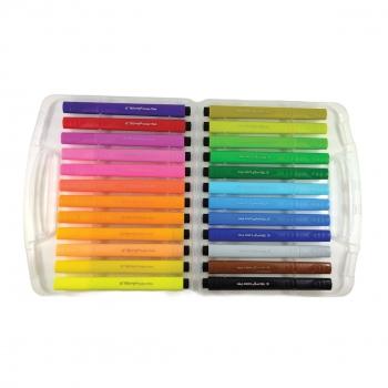 Μαρκαδόροι Ζωγραφικής Χοντροί Τριγωνικοί Water Color Pen Κασετίνα Yalong- 24 τμχ. 17x20 Ass