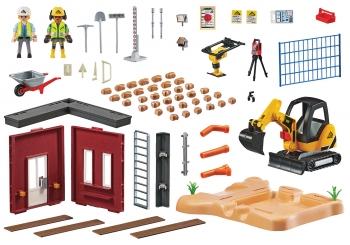 Playmobil City Action Μικρός Εκσκαφέας Με Ερπύστριες Και Δομικά Στοιχεία