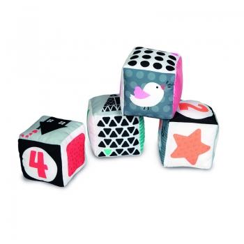 Clementoni Βρεφικό Παιχνίδι Μαλακοί Κύβοι Άσπρο - Μαύρο