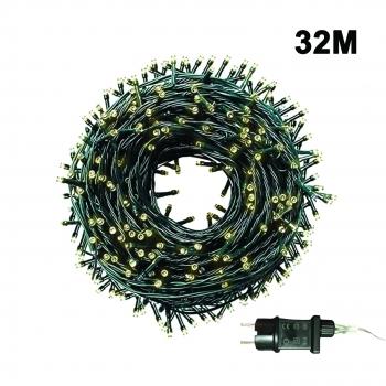 500 Λαμπάκια LED Σταθερά Μη Επεκτεινόμενα 32 Μ με Μετασχηματιστή - Θερμό Λευκό Πράσινο Καλώδιο
