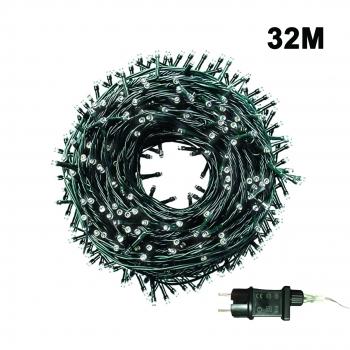 500 Λαμπάκια LED Σταθερά Μη Επεκτεινόμενα 32 Μ με Μετασχηματιστή - Ψυχρό Λευκό Πράσινο Καλώδιο