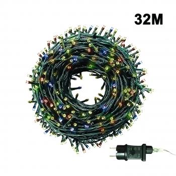 500 Λαμπάκια LED Με Πρόγραμμα Μη Επεκτεινόμενα 32 Μ με Μετασχηματιστή -  Πολύχρωμα  Πράσινο Καλώδιο