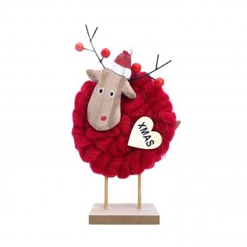 Χριστουγεννιάτικο Διακοσμητικό Τάρανδος Κόκκινο/Άσπρο Μαλλί 20x11x4 εκ 2Σχδ