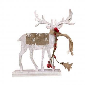 Χριστουγεννιάτικο Ξύλινο Διακοσμητικό Τάρανδος Κασκόλ Σέλα 28x30 εκ 4Σχδ