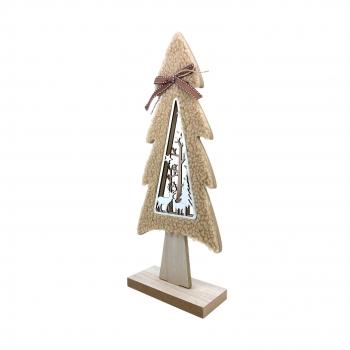 Χριστουγεννιάτικο Διακοσμητικό Ξύλινο Δέντρο Μαλλί 29 εκ