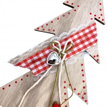 Χριστουγεννιάτικο Ξύλινο Κρεμαστό Δεντράκι Καρό Κορδέλα 24.5 εκ
