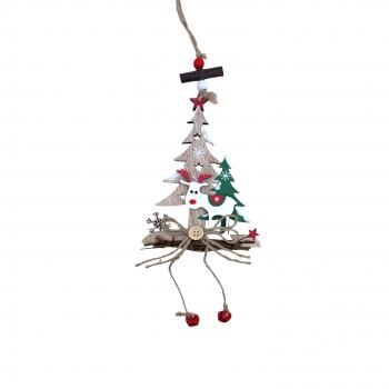 Χριστουγεννιάτικο Κρεμαστό Ξύλινο Έλατο 3Σχέδια  15 εκ