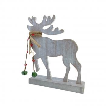 Χριστουγεννιάτικο Ξύλινο Διακοσμητικό Τάρανδος Κασκόλ  11x20 εκ