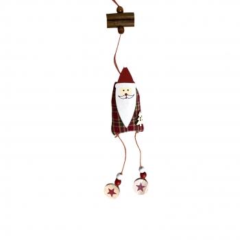 Χριστουγεννιάτικο Κρεμαστό Ξύλινο με Λινάτσα 3 Σχδ 12 εκ