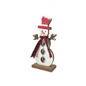 Χριστουγεννιάτικος Ξύλινος  Χιονάνθρωπος Λευκός 18 εκ.