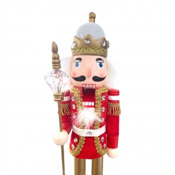 Χριστουγεννιάτικο Διακοσμητικό Ξύλινος Βασιλιάς Κόκκινη Χρυσή Στολή 36 εκ