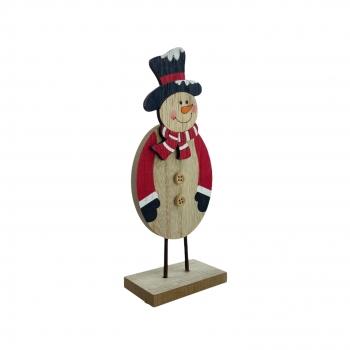 Χριστουγεννιάτικο Ξύλινο Διακοσμητικό Χιονάνθρωπος 20x8x4,5 εκ