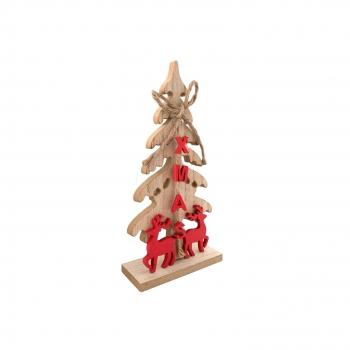 Χριστουγεννιάτικο Ξύλινο Δέντρο Kόκκινοι Τάρανδοι 20 εκ.