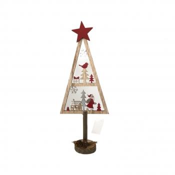 Χριστουγεννιάτικο Δέντρο Ξύλινο Αστέρι με Παράσταση 38εκ.