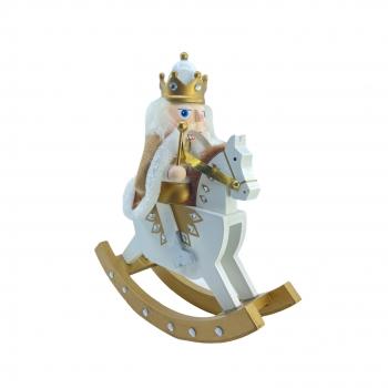 Χριστουγεννιάτικο Ξύλινο Κουνιστό Αλογάκι Με Στατιώτη Λευκό Χρυσό 30 εκ.