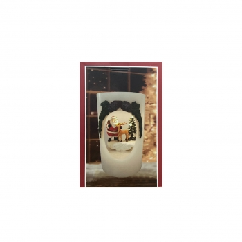 Χριστουγεννιάτικο Διακοσμητικό Κερί Μπαταρίας Led  Φώς 16Εκ