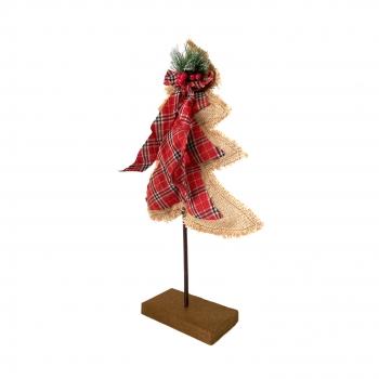 Χριστουγεννιάτικο Διακοσμητικό Πάνινο Δέντρο Ξύλινη Βάση 33x6x50 εκ