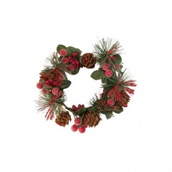 Χριστουγεννιάτικο Διακοσμητικό Στεφάνι Berries Κουκουνάρια 12εκ