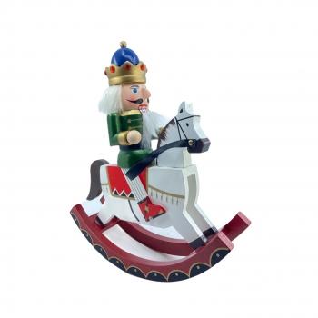 Χριστουγεννιάτικο Ξύλινο Κουνιστό Αλογάκι Με Στατιώτη Λευκό Μπλέ Πράσινο 30 εκ.