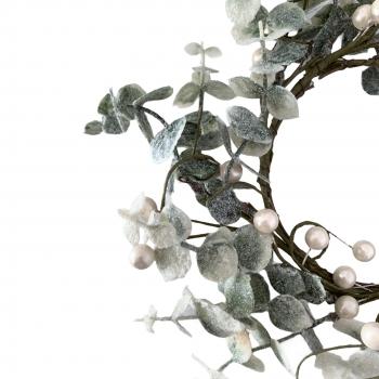 Χριστουγεννιάτικο Διακοσμητικό Στεφάνι Glitter Ασημί Berries 26 Εκ