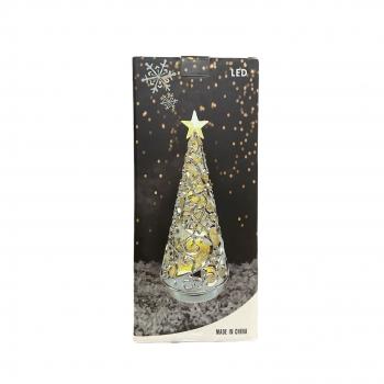 Χριστουγεννιάτικο Διακοσμητικό Δεντράκι Ασημί Με Φώς 31ΕΚ