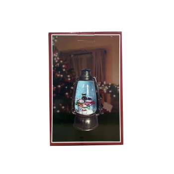 Χριστουγεννιάτικη Χιονόμπαλα Φανάρι Οβάλ Μπρονζέ USB  Φώς Κίνηση Μουσική