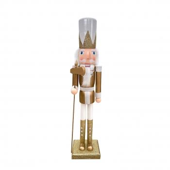 Χριστουγεννιάτικο Διακοσμητικό Ξύλινος Στρατιώτης Λευκή Στολή 4 Σχδ 60 εκ