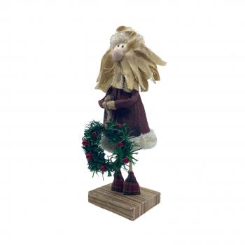 Χριστουγεννιάτικος  Αη Βασίλης Στεφάνι  Ξύλινη Βαση   10x10x33 εκ.