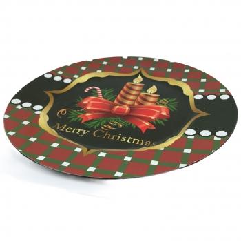 Χριστουγεννιάτικη Πιατέλα Πλαστική Στρογγυλή  Κόκκινη Κεριά