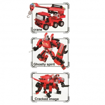 Παιχνίδι Τουβλάκια Red 3σε1 Γερανός Ρομπότ Ελέφαντας