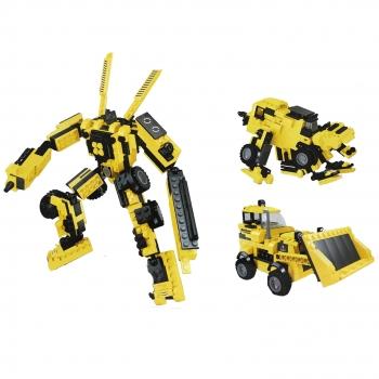 Παιχνίδι Τουβλάκια Yellow 3σε1 Μπουλτόζα Ρομπότ Ζωάκι