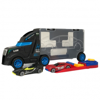 Νταλίκα Μαύρη Ρυμουλκό με Αγωνιστικό Αυτοκίνητο