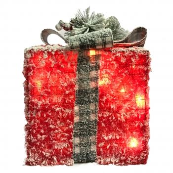 Χριστουγεννιάτικο Φωτιζόμενο Δώρο Κοκκινο Γκρι Σετ 3 Τεμαχια