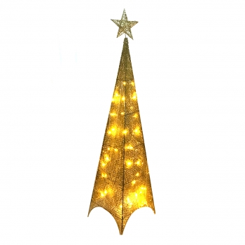 Χριστουγεννιάτικο Φωτιζόμενο Δέντρο  Χρυσό Tinsel Κορυφή 130εκ
