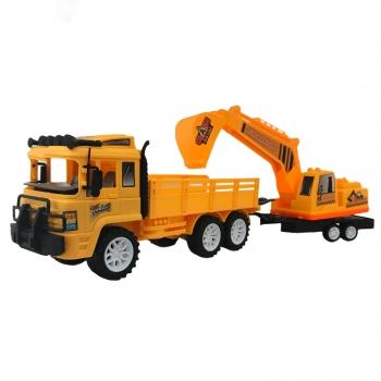 Φορτηγό με Καρότσα και Ριμουλκό Εκσκαφέα